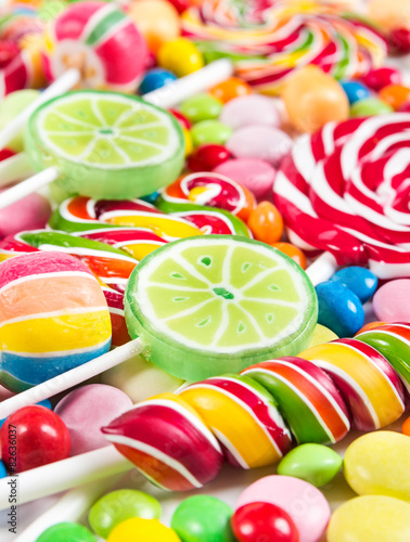 Aluminium Prints Candy Colorful lollipops and candy