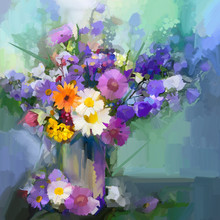 Oil Painting Daisy Flowers In Vase.