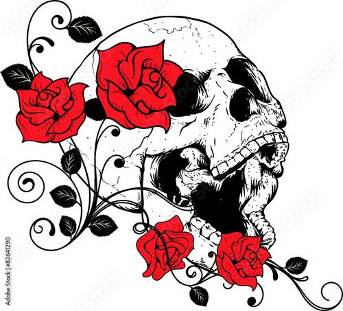 Fényképezés  teschio con rose