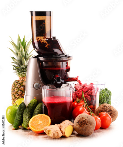 Slow juicer with organic fruits and vegetables isolated on white Canvas Print