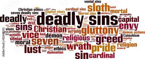Canvas Print Deadly sins word cloud concept. Vector illustration