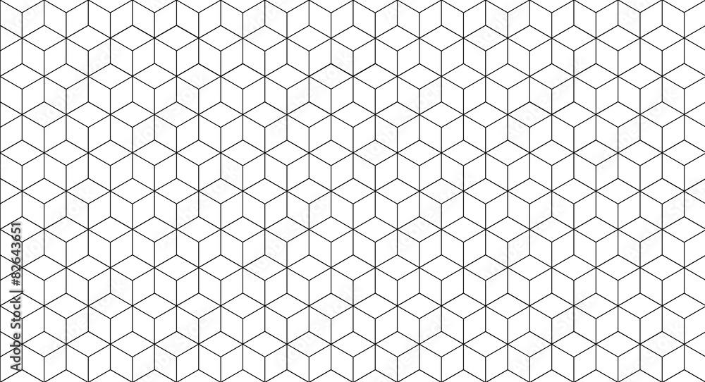 Fototapeta Cube seamless pattern, geometric line design, cube texture