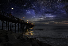 Starry Night At Oceanside (San Diego) Pier.