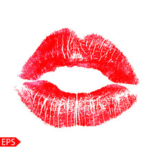 Print Of Pink Lips. Vector Illustration On A White Background.