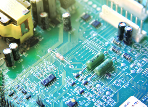 Fotografie, Obraz  circuit board with electronic components