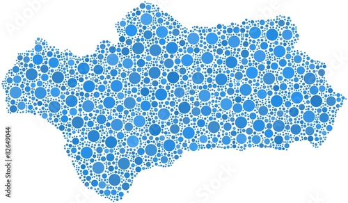 Decorative map of Andalusia in a mosaic of blue bubbles