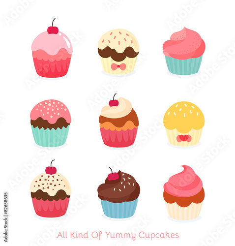Carta da parati  Nine flat cupcake illustration