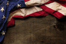 Old American Flag Background F...