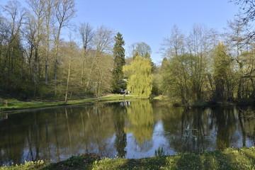 Fototapeta na wymiar Effet miroir à l'étang Solvay Tournai au sud de Bruxelles