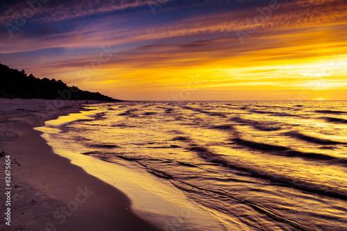 Fototapeta Zachód słońca nad Morzem Bałtyckim ścienna