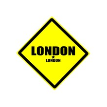 London Black Stamp Text On Yellow Background