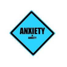 Anxiety Black Stamp Text On Blue Background