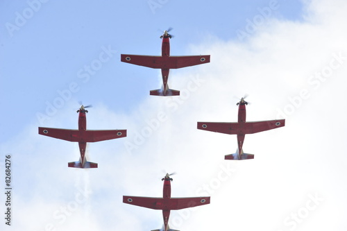 Synchronized flight of 4 planes in the team Wallpaper Mural