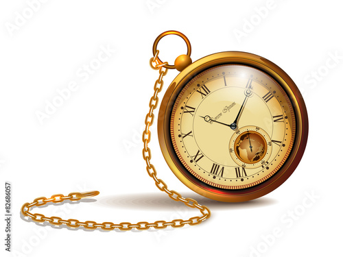 Fotografía  Gold vintage clock with roman numerals and chain.
