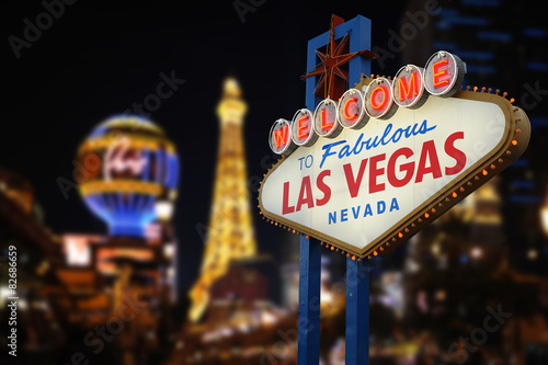 Spoed Foto op Canvas Las Vegas Welcome to Fabulous Las Vegas Neon Sign