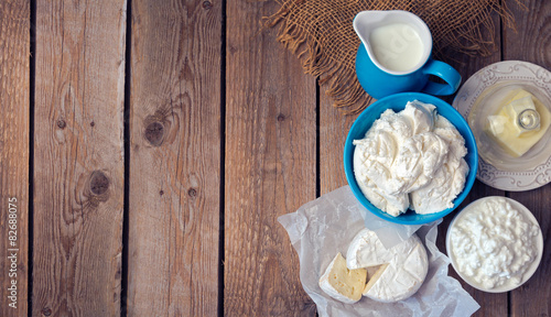 Recess Fitting Dairy products Background with milk and cottage cheese. View from above