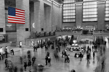 American Flag In Grand Central Station, New York City