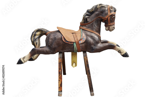 Photo  Old wooden and vintage Carousel Horse