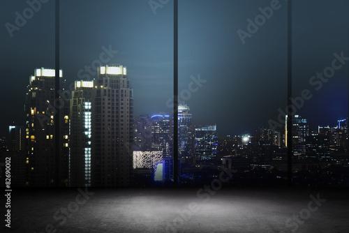 Fotografia, Obraz  City Night Background Inside Office Building