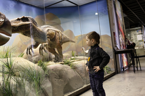 Fotografering  Boy looks at a dinosaur