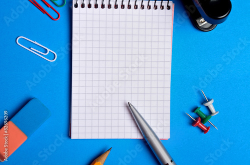 Valokuva  Notebook and office supplies