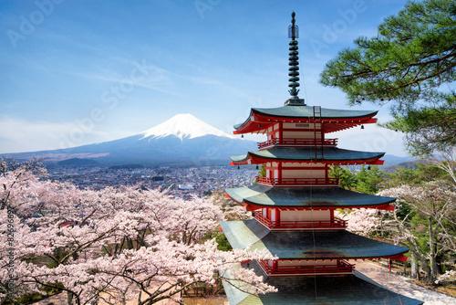 Poster Tokyo Frühling und Sakura bei der Chureito Pagoda in Japan Fujiyoshida