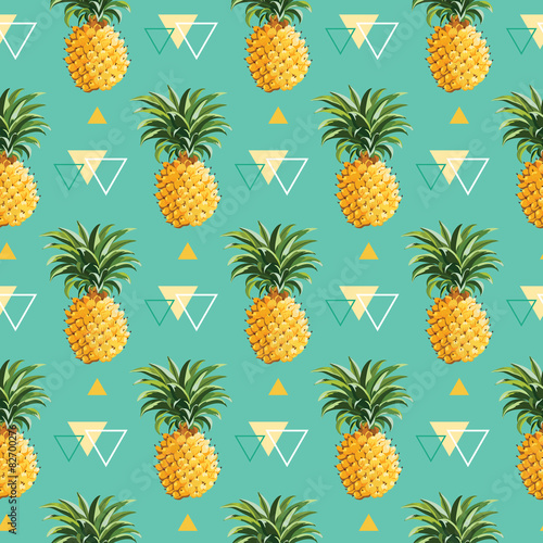 Stampa su Tela Geometric Pineapple Background - Seamless Pattern in vector