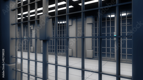 Valokuva  3d interior jail and iron bars