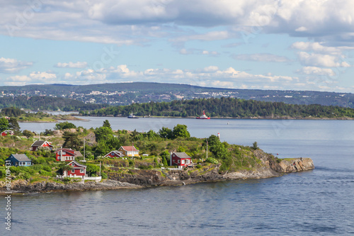 Photo  Cottages on the island in the Oslo fjord, Norway