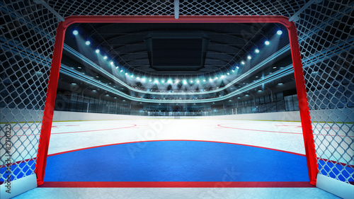 general hockey stadium view inside goal
