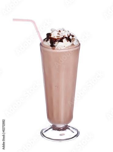 Foto op Aluminium Milkshake milkshakes chocolate flavor with syrup and whipped cream isolate