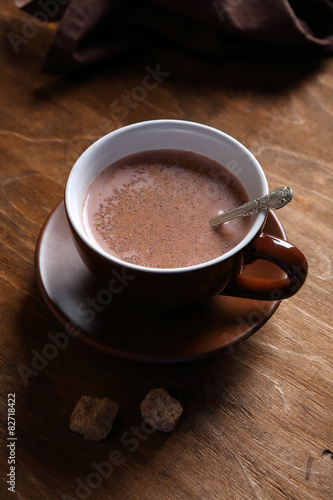 In de dag Chocolade Delicious cocoa in a black cup