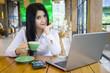 Businesswoman enjoy coffee at cafe