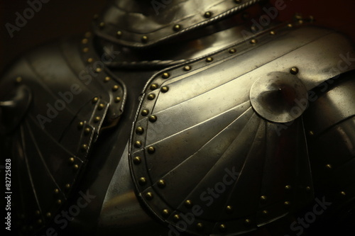 Photo  Ancient medieval armor crusader close to