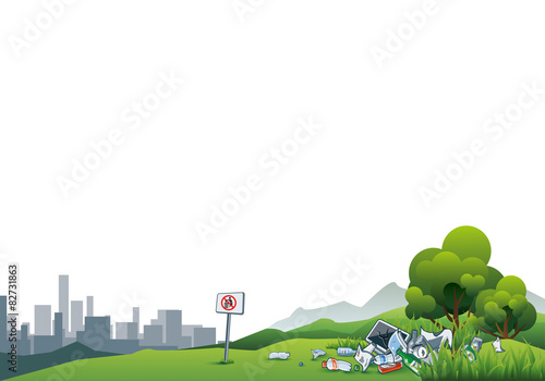 In de dag Lime groen Trash in the Nature Enviroment Littering City Waste