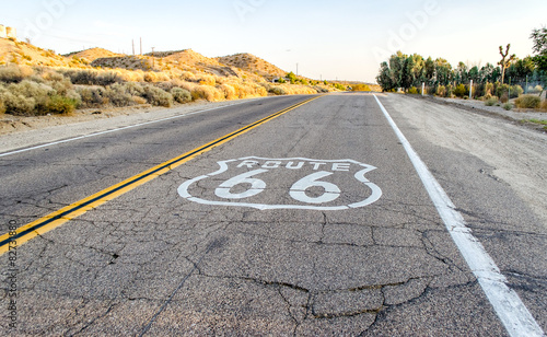 Fotobehang Route 66 Historic Route 66 with Pavement Sign in California