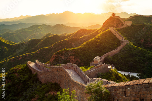 Fototapeta Great wall under sunshine during sunset obraz
