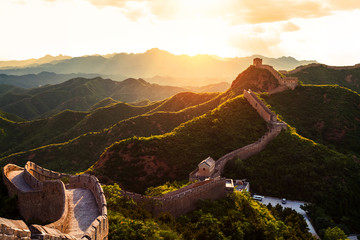 Panel Szklany Orientalny Great wall under sunshine during sunset