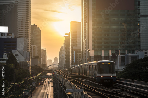 Modern train at bangkok,thailand плакат