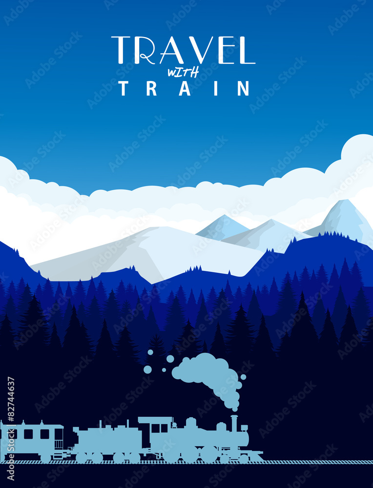 Fototapeta Travel with train background - obraz na płótnie