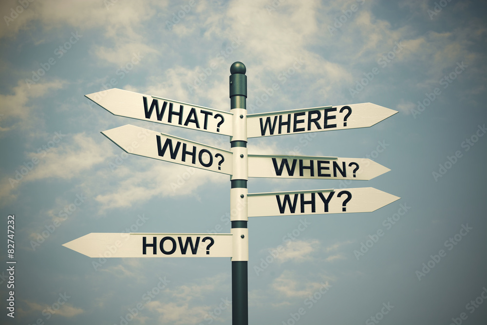 Fototapety, obrazy: Where,who,when,how,why,what,questions and researching concept.