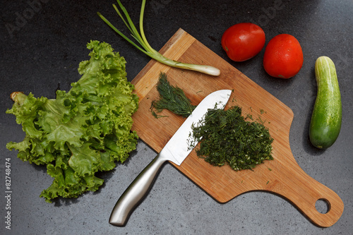 Aluminium Prints Garden Assorted vegetables with a chopping board and a knife