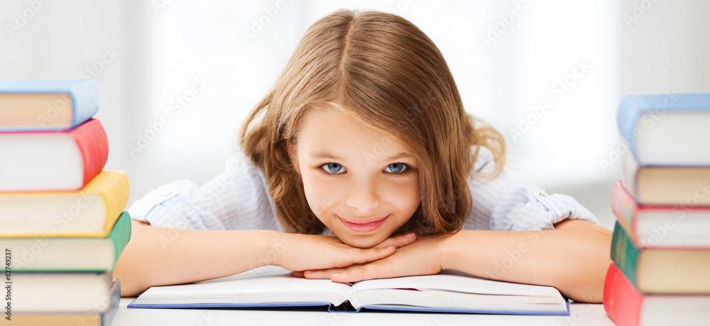 Fototapety, obrazy: pretty girl with many books at school