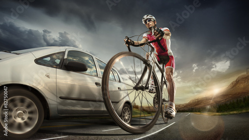 Aluminium Prints Cycling sport. cycle support team.