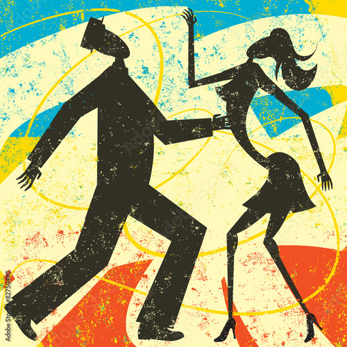 Retro couple dancing - 82750490