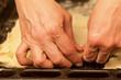 Hands to prepare dough