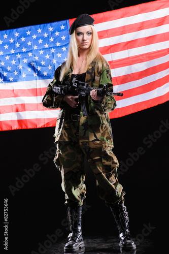 Canvas Prints Art Studio Beautiful army girl with gun