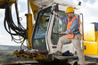Mechanic engineer on drilling pile foundation.