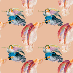 Fototapeta Do kościoła Beautiful watercolor angels with wings seamless pattern