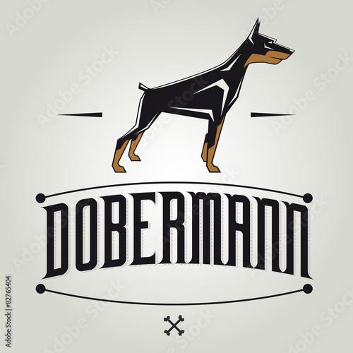 dobermann vector clipart illustration Fotobehang